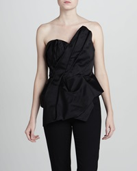Notte By Marchesa Asymmetric Sateen Bustier Top 8