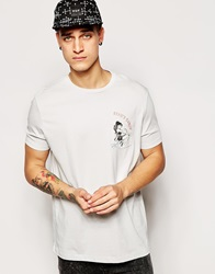 Asos T Shirt With Trident Pin Up Print And Relaxed Skater Fit Grey