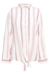 Melissa Odabash Woman Inny Knotted Striped Cotton Gauze Shirt Red