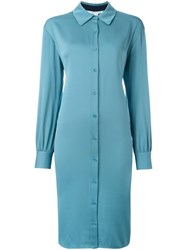 Diane Von Furstenberg Button Up Shirt Dress Blue