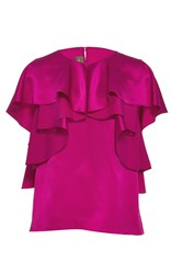 Monique Lhuillier Short Sleeve Ruffle Blouse Pink