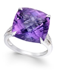 Macy's Amethyst 13 1 2 Ct. T.W. And Diamond 1 8 Ct. T.W. Statement Ring In 14K White Gold Purple