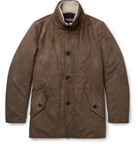 Loro Piana Wool And Cashmere Trimmed Suede Jacket Mushroom