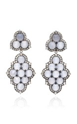 Nam Cho Detachable 18K White Gold Black Rhodium Chalcedony And Diamond Earrings Blue