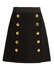 Dolce And Gabbana Button Front Wool Blend Crepe Skirt Black
