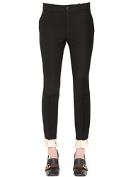 Gucci Ruffled Hem Silk And Wool Cady Crepe Pants