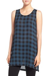 Eileen Fisher Women's Scoop Neck Plaid Print Silk Tunic Fir