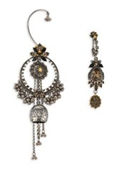 Alexander Mcqueen Jeweled Duo Earring Set Silver
