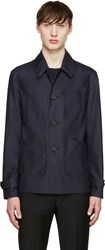 Burberry Navy Silk And Wool Jacket