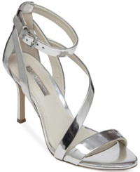 Bcbgeneration Diego Mid Heel Strappy Sandals Women's Shoes Silver