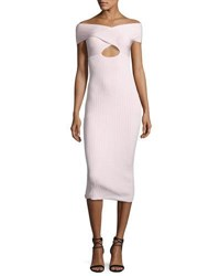 Cushnie Et Ochs Ryvi Off Shoulder Cutout Midi Dress Light Pink