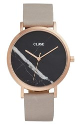 Cluse Women's 'La Roche' Leather Strap Marble Watch 38Mm Grey Black Marble Rose Gold