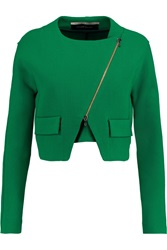 Roland Mouret Luciola Cropped Wool Crepe Jacket Green