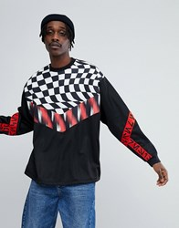 Asos X Star Wars Oversized Poly Tricot Sweatshirt With Printed Tape And Checkerboard Black