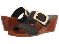 Vaneli Danel Black Nappa Tan Super Calf Gold Buckle Women's Wedge Shoes