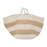 Amara Knitted Jute Striped Basket White Natural