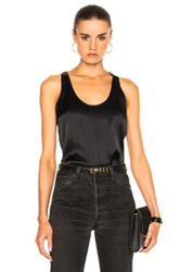 Frame Denim Satin Racer Tank In Black