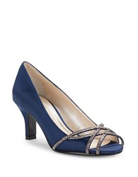 Caparros Eliza Rhinestone Metallic Open Toe High Heels Navy Blue