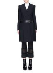 Alexander Mcqueen Pleated Skirt Belted Leaf Crepe Coat Black