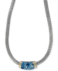 Effy Collection Ocean Bleu By Effy Blue Topaz Necklace 6 3 4 Ct. T.W. In Sterling Silver And 18K Gold