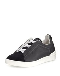 Ermenegildo Zegna Couture Triple Stitch Leather And Suede Low Top Sneaker Navy