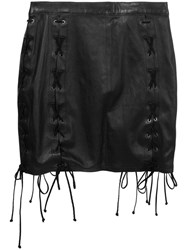 Unravel Project Laced Mini Skirt Cotton Leather Viscose Black