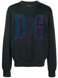 Dolce And Gabbana Logo Sweater Blue