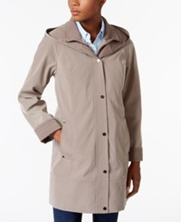 Jones New York Two Toned A Line Hooded Raincoat Desert Taupe