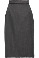Dolce And Gabbana Fringe Trimmed Twill Skirt Dark Gray