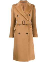 Tagliatore Wide Lapel Double Breasted Coat Brown