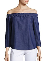 Saks Fifth Avenue Red Solid Off The Shoulder Top Blue
