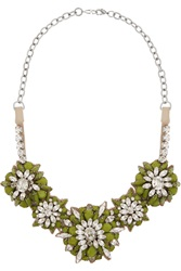 Valentino Silver Tone Crystal Necklace Green
