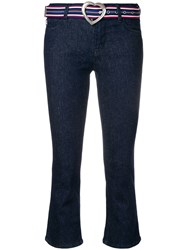 Love Moschino Cropped Flared Trousers Blue
