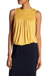 Max Studio Pleat Yoke Bubble Hem Tank Yellow