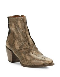 Free People Nevada Textured Leather Ankle Boots Snake Combo