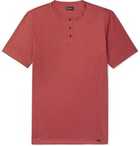 Hanro Night And Day Cotton Jersey Henley T Shirt Red