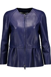 Valentino Leather Peplum Jacket Royal Blue