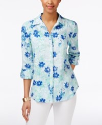 Charter Club Floral Print Linen Shirt Only At Macy's Bright White