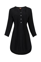 Jolie Moi Button Front Pleated Tunic Black