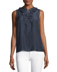 Frame Small Ruffle Sleeveless Top Navy Polka Dot Multi Pattern