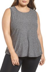 Marika Plus Size Women's Curves Crossover Tank Heather Charcoal