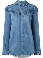 Saint Laurent Classic Ruffled Western Shirt Blue