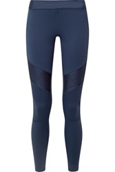 Monreal London Biker Satin Paneled Stretch Leggings Midnight Blue