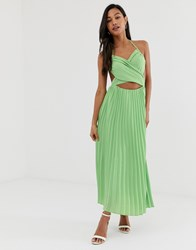 Fashion Union Midi Dress With Pleated Skirt And Cut Out Detail Green