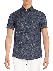 Report Collection Regular Fit Floral Print Cotton Sportshirt Blue