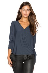 Krisa Wrap Surplice Top Blue