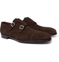 George Cleverley Thomas Cap Toe Suede Monk Strap Shoes Brown