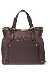 Dkny Textured Leather And Jacquard Tote Dark Brown