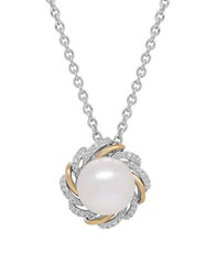 Lord And Taylor 10Mm White Button Freshwater Pearl Diamond Sterling Silver 14K Yellow Gold Floral Pendant Necklace