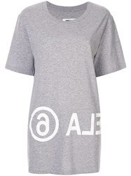 Maison Martin Margiela Mm6 Logo Printed T Shirt Grey